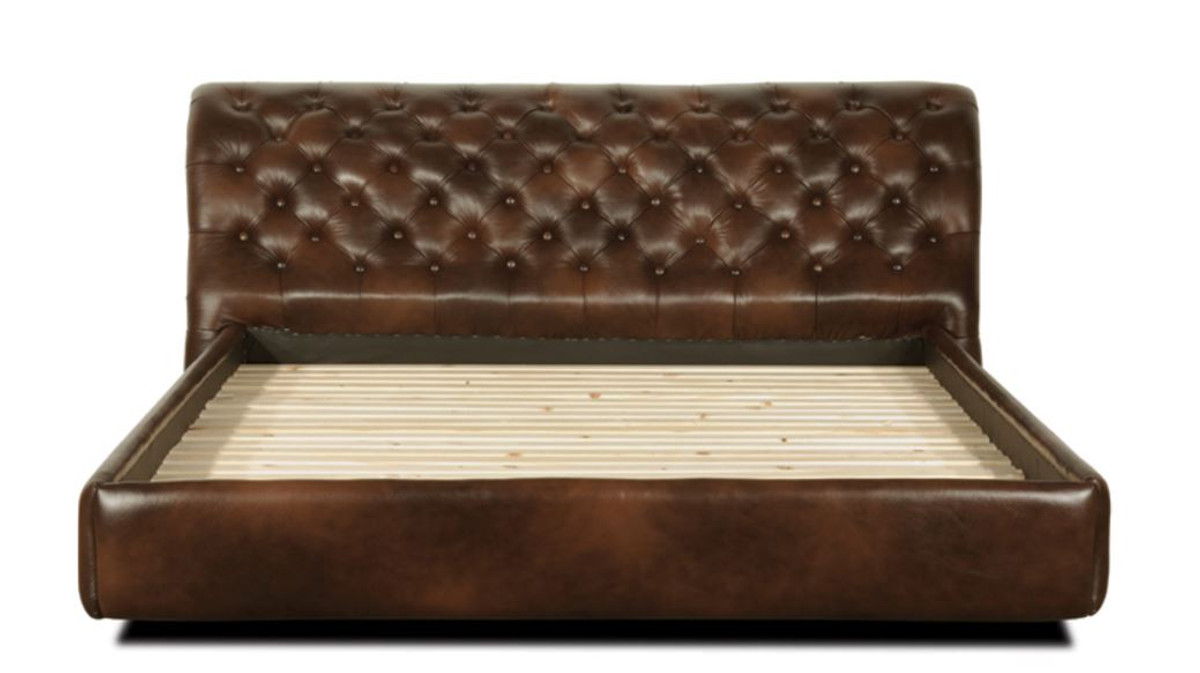 Letti Di Lusso In Pelle : Casa padrino chesterfield letto in vera pelle marrone scuro camera