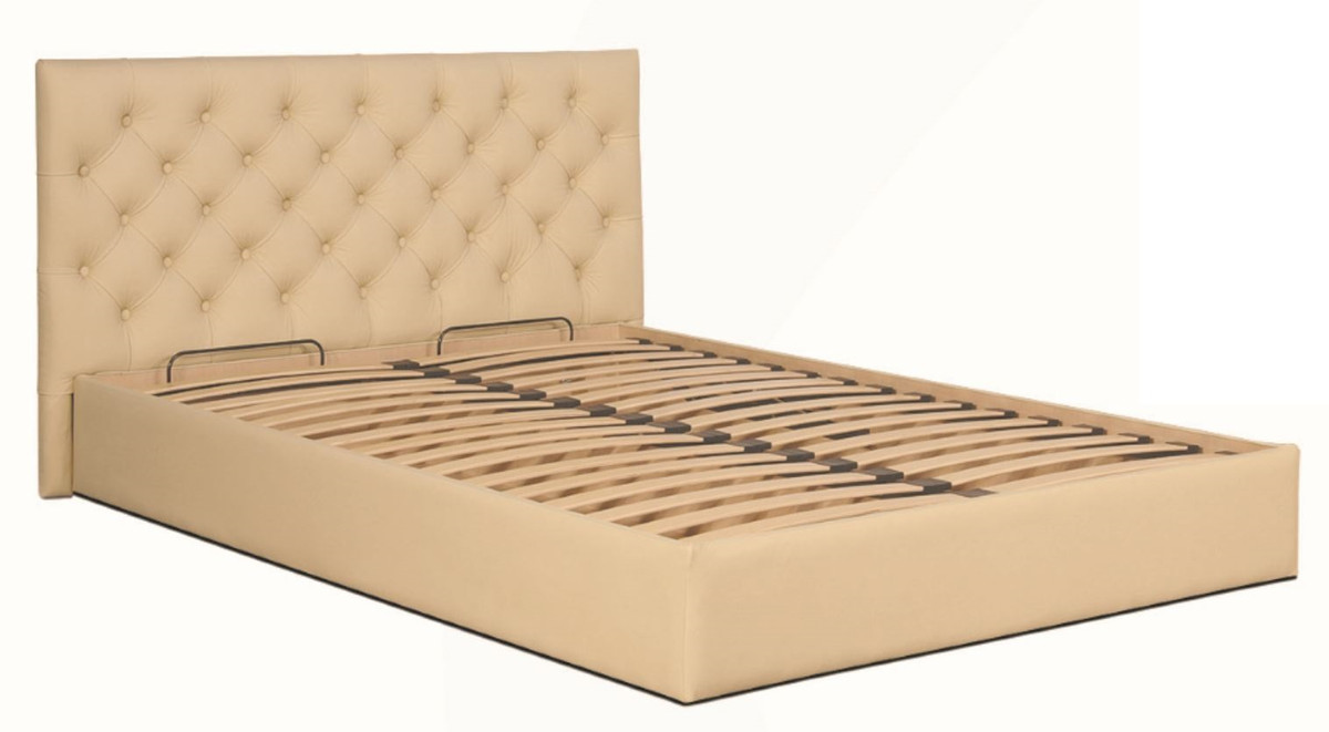 Casa Padrino Chesterfield Bed Beige   Genuine Leather Furniture