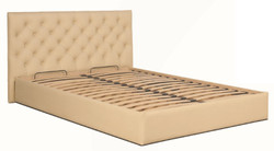 Casa Padrino Chesterfield Bed Beige - Genuine Leather Furniture