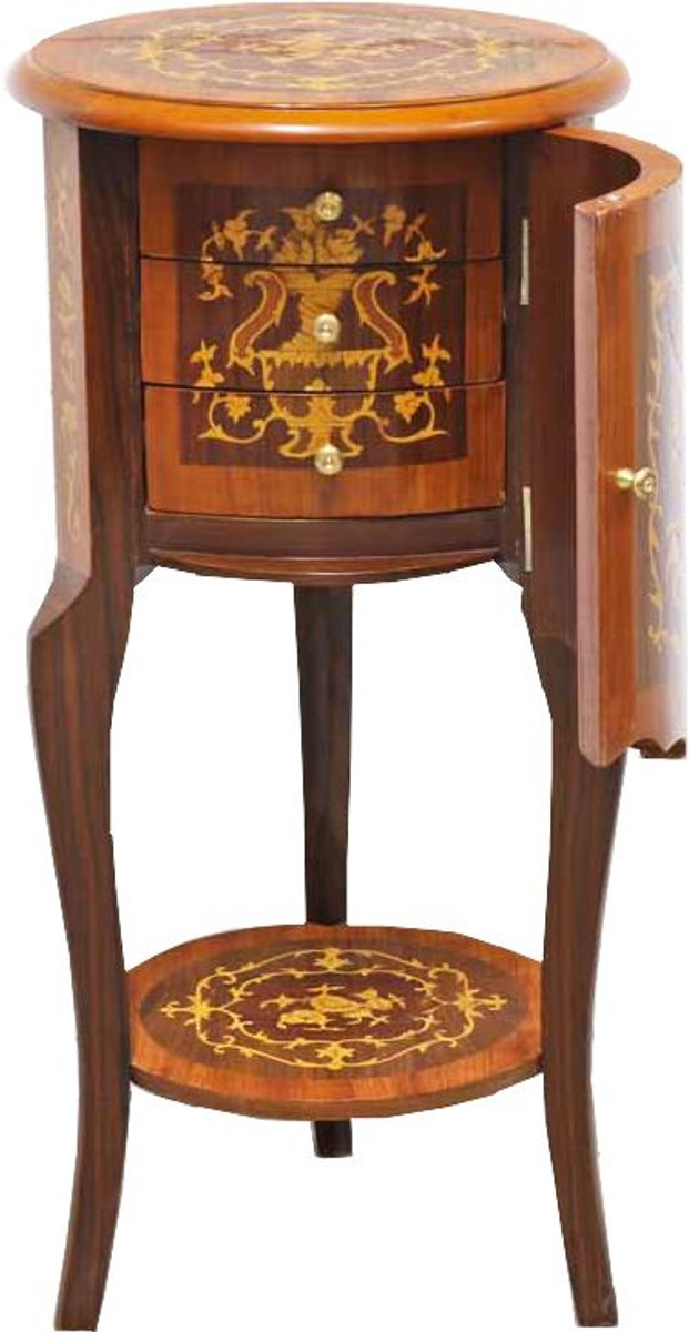 newest 75d74 868e0 Casa Padrino Baroque side table with drawers Brown inlaid 80 x 40 cm -  Antique style side table - Telephone table - Furniture