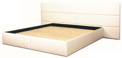 Casa Padrino Genuine Leather Bed White - Luxury Furniture