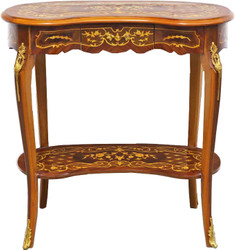 Casa Padrino Baroque Side Table with Drawer Brown Inlaid - Antique Style Side Table - Telephone Table - Furniture