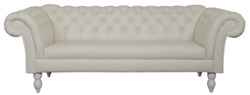 Casa Padrino luxury genuine leather 3 seater sofa white 210 x 90 x H. 80 cm - Living Room Furniture in Chesterfield Design