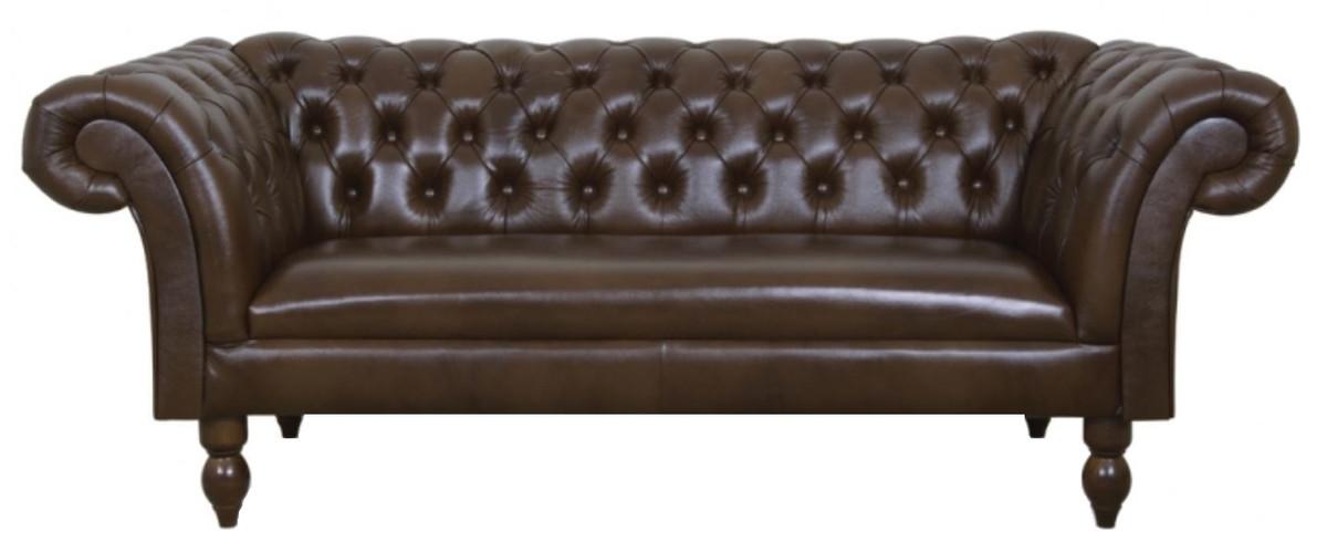 Casa padrino luxus echtleder 2er sofa dunkelbraun 180 x 90 for Wohnlandschaft sitztiefe 90 cm