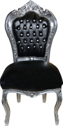 Casa Padrino Baroque Dining Chair Black Leather Look / Silver with Bling Bling Rhinestones - Limited Edition