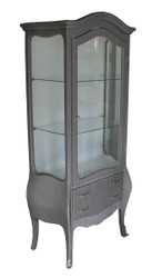 Casa Padrino Baroque display case in grey / silver glitter look - display cabinet - living room cabinet