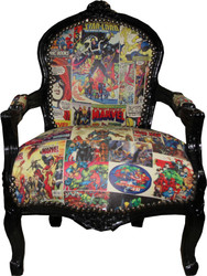 Casa Padrino Baroque highchair comic leather look / black - Armchair
