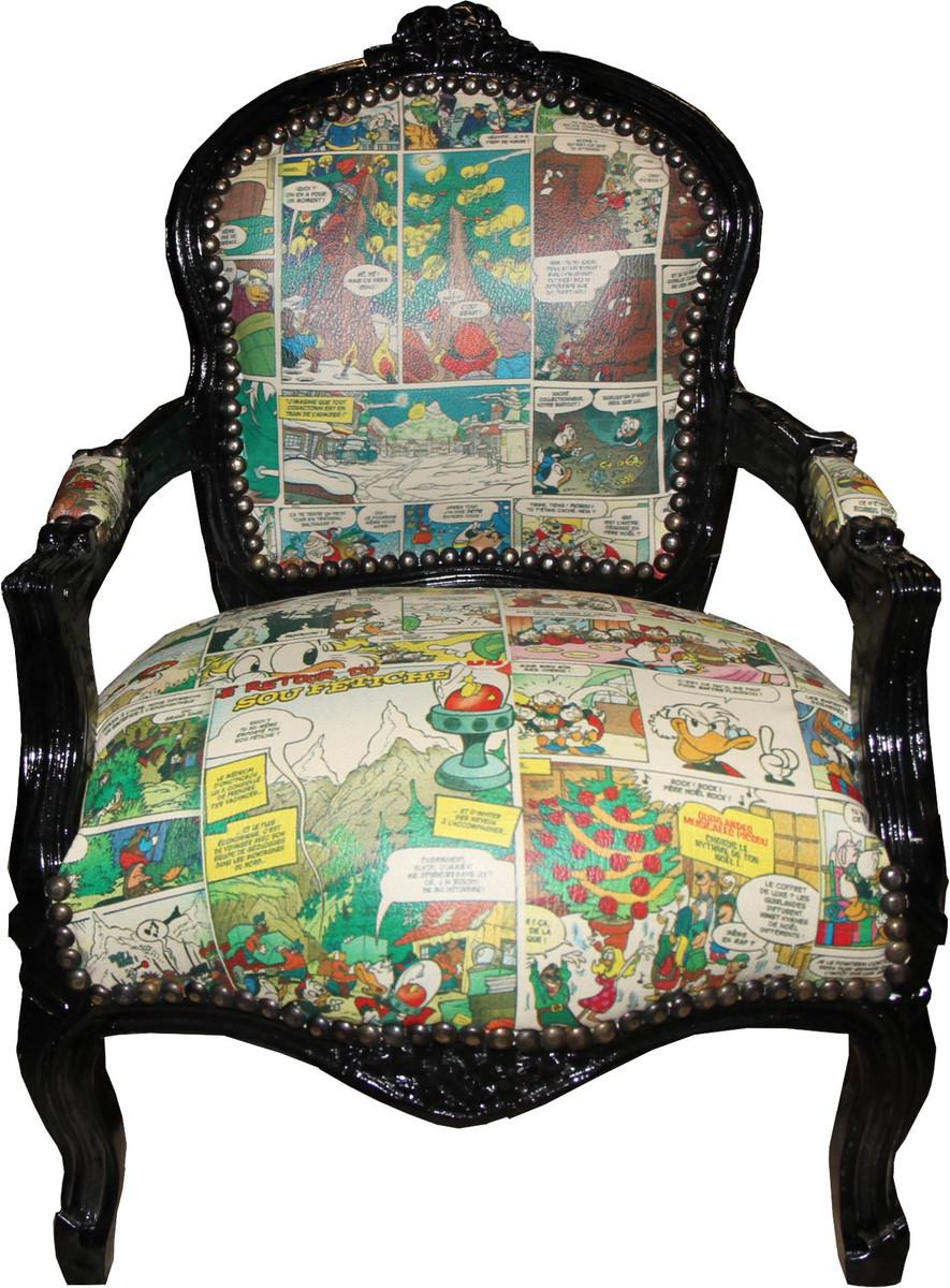 Casa Padrino Baroque Highchair Comic Leather Look Black Armchair