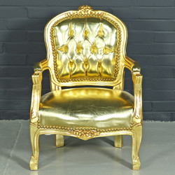 Casa Padrino Baroque Kids Chair Gold Leather Look / Gold - Children's Furniture in Antique Style