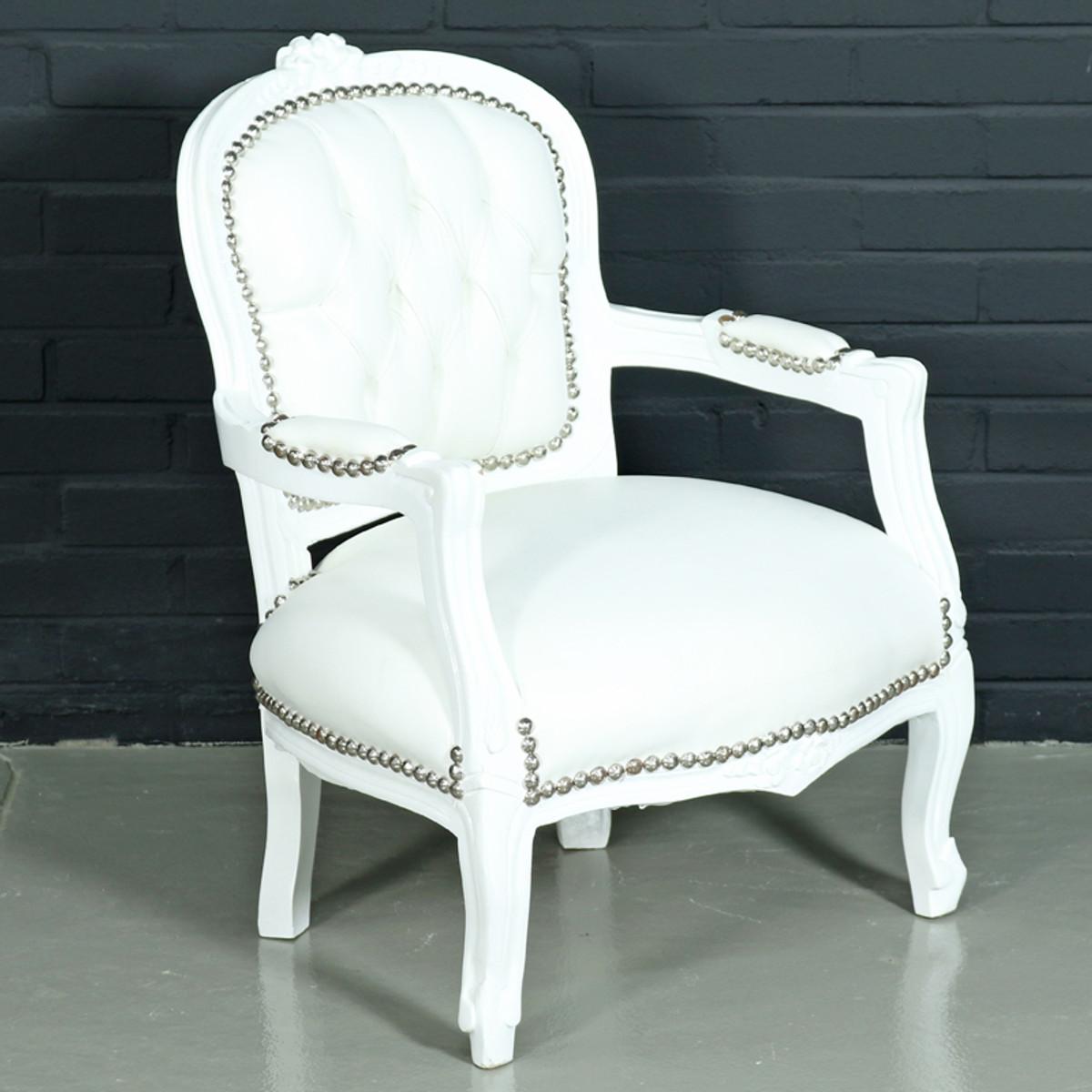 casa padrino barock kinderstuhl wei lederoptik wei. Black Bedroom Furniture Sets. Home Design Ideas