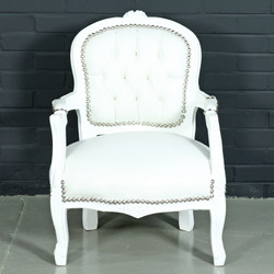 Casa Padrino Baroque Kids Chair White Leather Look / White - Children's Furniture in Antique Style