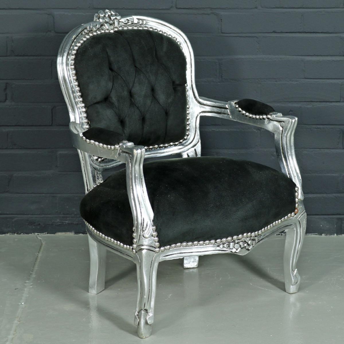 casa padrino barock kinderstuhl schwarz silber kinderm bel im antik stil kinderm bel. Black Bedroom Furniture Sets. Home Design Ideas