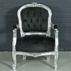 Casa Padrino Baroque Kids Chair Black / Silver - Children's Furniture in Antique Style