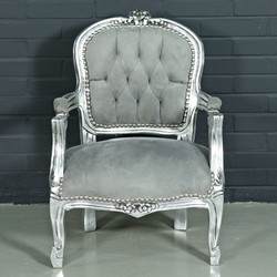 Casa Padrino Baroque Kids Chair Light Gray / Silver - Children's Furniture in Antique Style