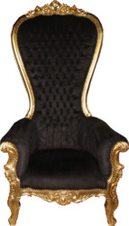 Casa Padrino Baroque Throne Armchair Majestic Mod1 Black / Gold - Giant Armchair - Throne Chair