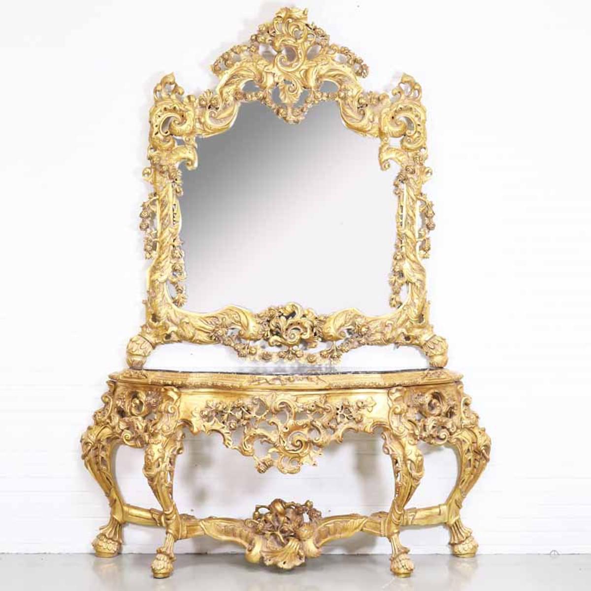 Consolle specchio barocco lusso Casa Padrino con piano in marmo Oro ...