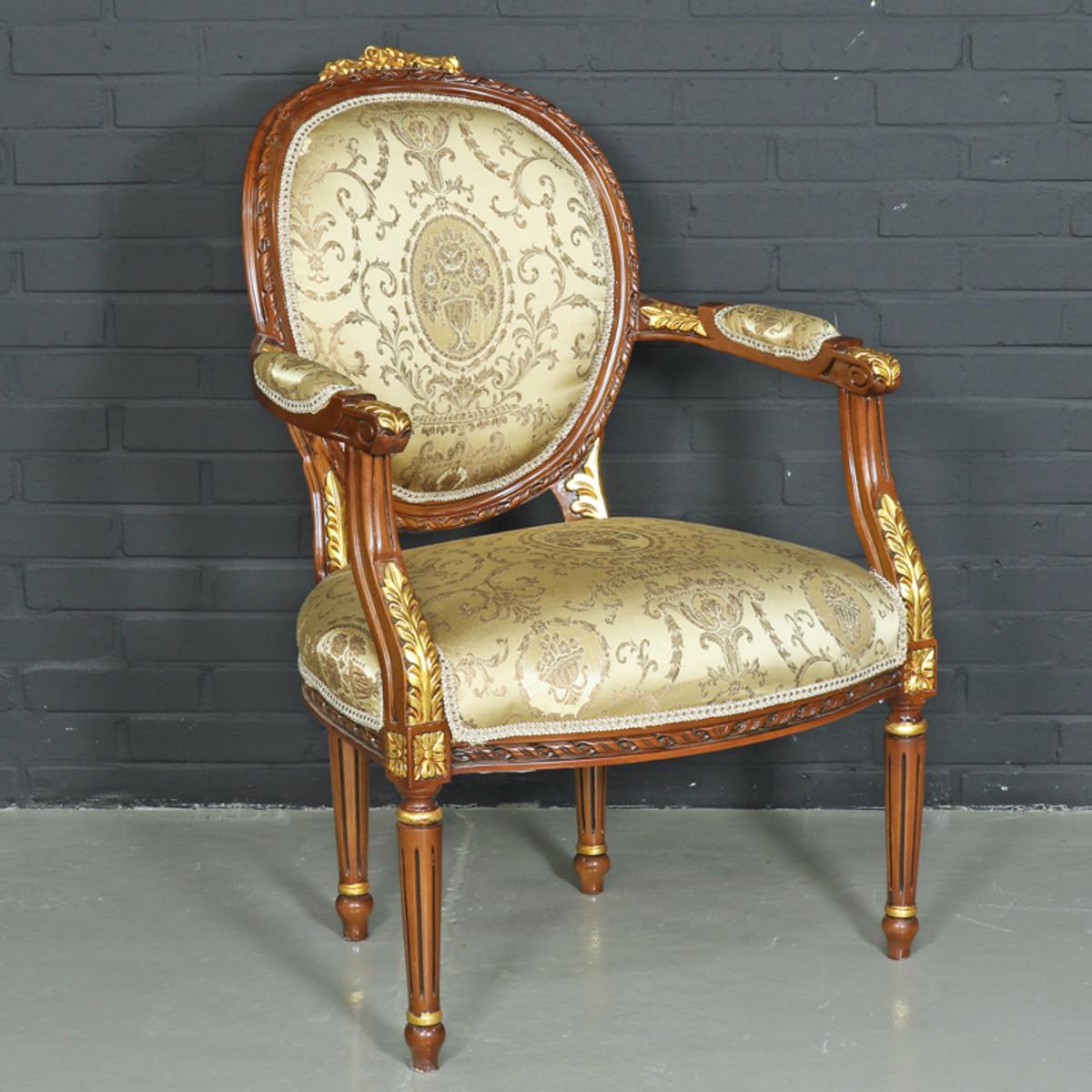 casa padrino barock salon stuhl ludwig xv mit armlehnen 65 x 65 x h 100 cm antikstil stuhl. Black Bedroom Furniture Sets. Home Design Ideas