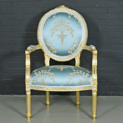 "Casa Padrino baroque salon chair ""Medaillon"" Mod2 with armrests light turquoise / gold - Antique Style Chair"