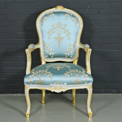 "Casa Padrino baroque salon chair ""Medaillon"" Mod1 with armrests light turquoise / gold - Antique Style Chair"