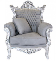 "Casa Padrino baroque armchair ""Al Capone"" with pillow in gray / silver - Antique Style Living Room Furniture"