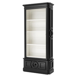 Casa Padrino Luxury Books Cabinet Black Solid Wood Living Room Cabinet Baroque Art Nouveau Rococo Showcase Store Interior