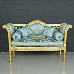 Casa Padrino Baroque Bench Light Turquoise Pattern / Gold - Antique Style Bench