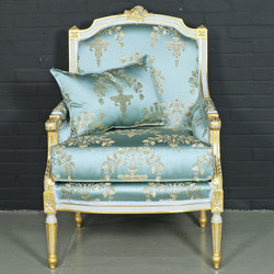 Casa Padrino antique style lounge armchair light turquoise / gold 70 x 70 x H. 100 cm - Baroque Furniture
