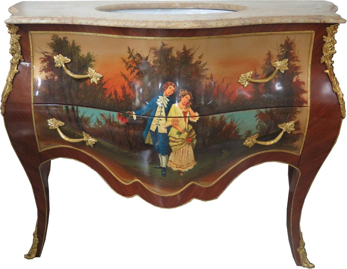 Casa Padrino Barock Waschtisch Braun Mit Malerei Und Cremefarbener  Marmorplatte   Luxus Barock Badezimmermöbel