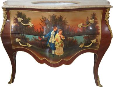 Casa Padrino Barock Waschtisch Braun mit Malerei und cremefarbener Marmorplatte - Luxus Barock Badezimmermöbel – Bild