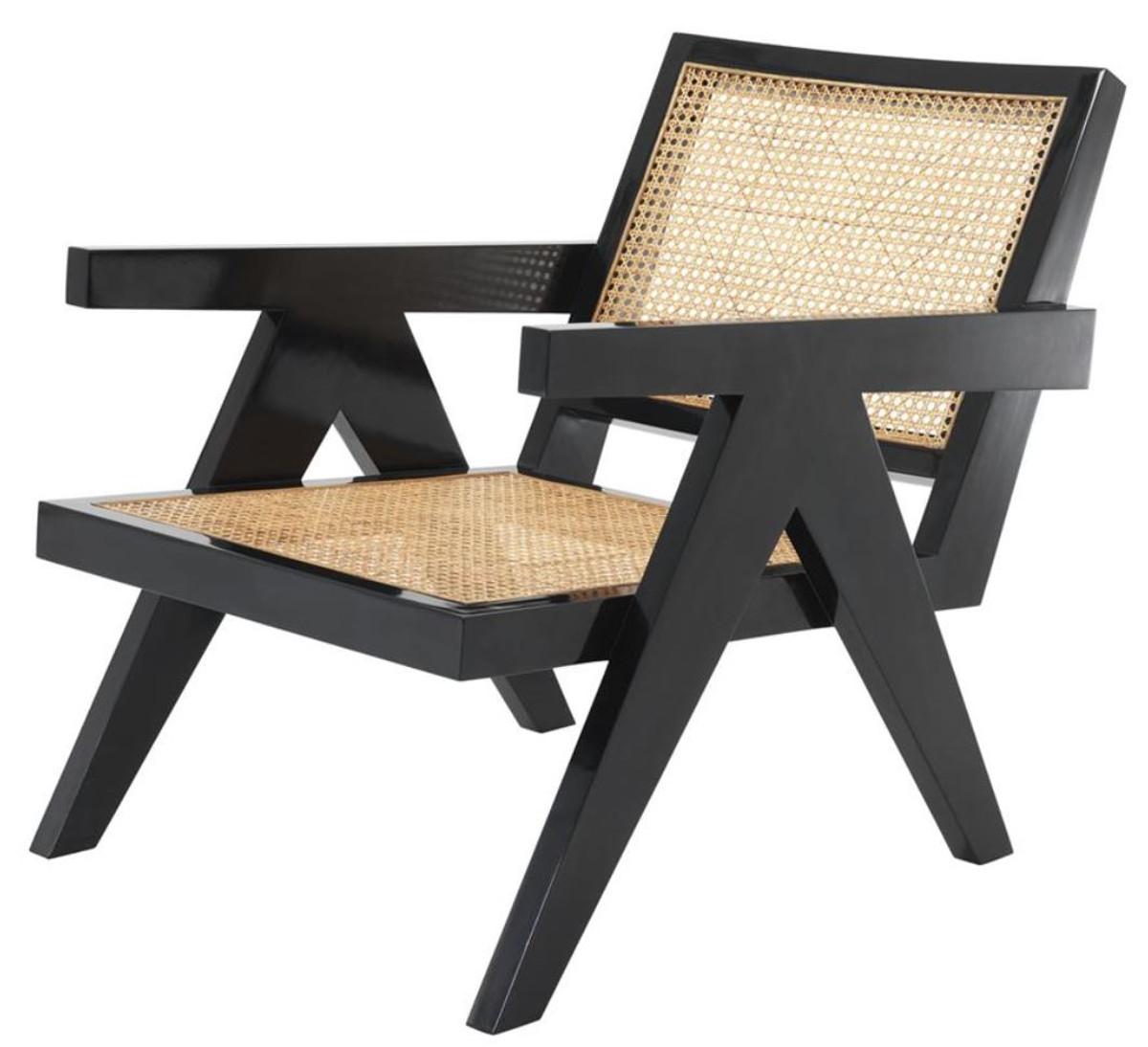 casa padrino designer stuhl mit armlehnen in schwarz naturfarben 58 x 82 x h 70 cm. Black Bedroom Furniture Sets. Home Design Ideas