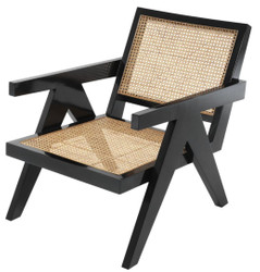 Casa Padrino designer chair with armrests in black / natural 58 x 82 x H. 70 cm - Design Furniture