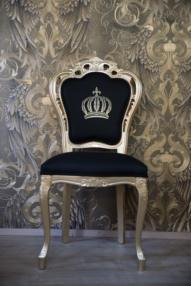 pomp s by casa padrino luxus barock esszimmerstuhl schwarz gold pomp ser barock stuhl. Black Bedroom Furniture Sets. Home Design Ideas