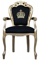 Pompöös by Casa Padrino luxury baroque dining chair with armrests black / gold - Pompöös baroque chair designed by Harald Glööckler