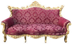 Casa Padrino Baroque 3 seater Burgundy Pattern / Gold - Living room furniture Coffee Lounge