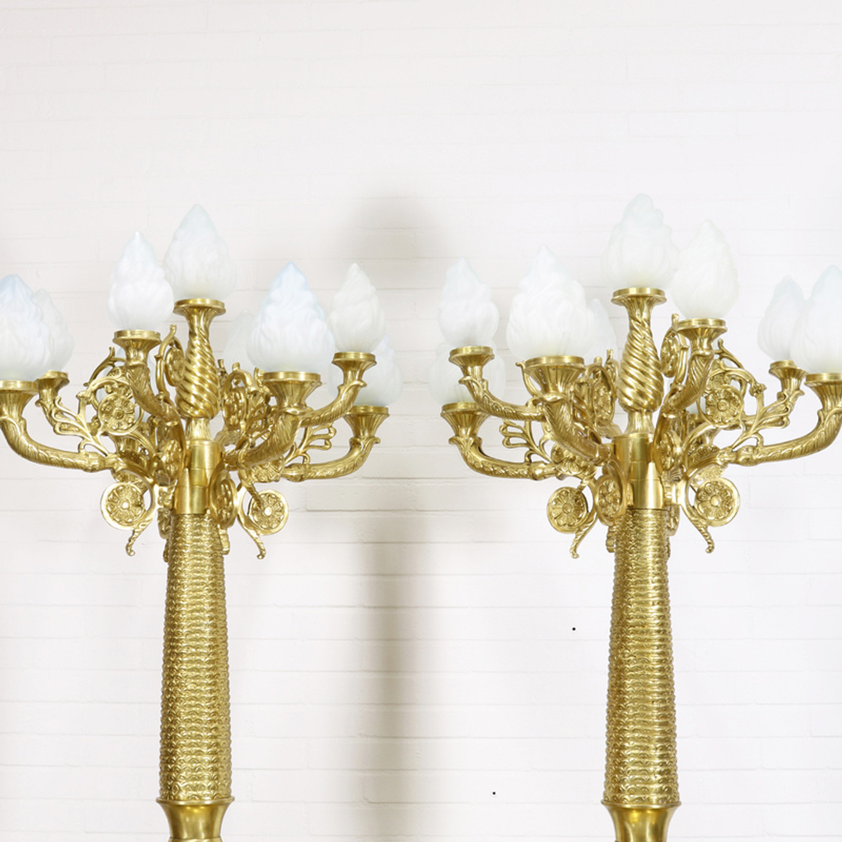 Casa Padrino Barock Stand Kronleuchter Mit Marmor Säulen Set Mod1 Creme /  Gold   Edel U0026amp