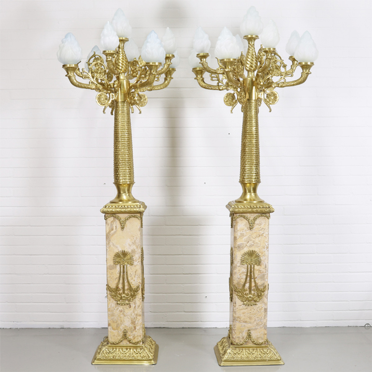 Casa Padrino Barock Stand Kronleuchter Mit Marmor Säulen Set Mod1 Creme /  Gold   Edel U0026 Prunkvoll