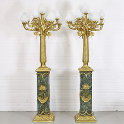 Casa Padrino baroque stand chandelier with marble pillars set mod1 black-green / gold - Noble & Sumptuous