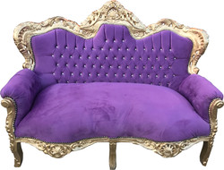 "Casa Padrino Baroque 2 Seater Sofa ""Master"" with Bling Bling Glittering Stones Purple / Gold 160 x 70 x H. 128 cm - Baroque Living Room Furniture"