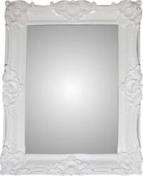 Casa Padrino Barock Wandspiegel Weiß glänzend Höhe 112 cm, Breite 90 cm, Tiefe 9 cm - Edel & Prunkvoll