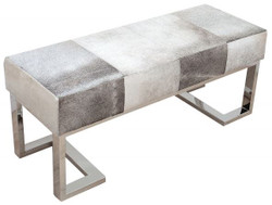 Casa Padrino luxury real leather bench gray 110 cm x D. 40 cm H. 45 cm - real fur - unique