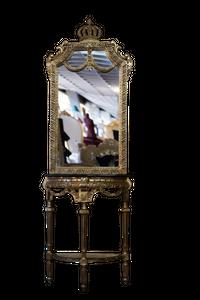 Pompöös by Casa Padrino Barock Spiegelkonsole mit Marmorplatte Gold / Schwarz - Pompööse Barock Spiegelkonsole designed by Harald Glööckler – Bild 1