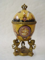 Casa Padrino Baroque porcelain egg with brass lion - Royal - Ornate residential decoration