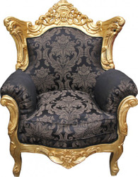 "Casa Padrino Baroque Armchair ""King"" Mod2 Black pattern / Gold"