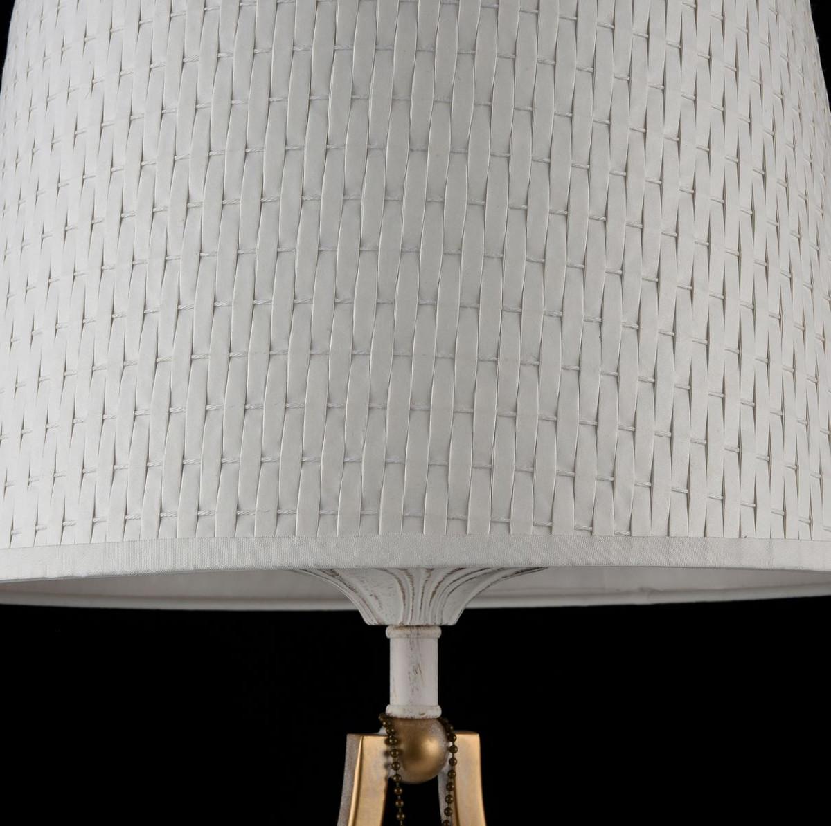 Casa Padrino Barock Tischleuchte Weiß / Gold Ø 27 x H. 49 cm - Barockstil Tischlampe 5