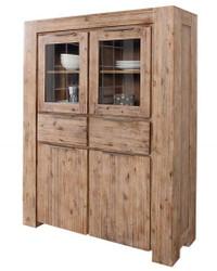 Casa Padrino Designer Highboard Teak Gray W.110 x H.140 x T.45 - Real wood - unique!