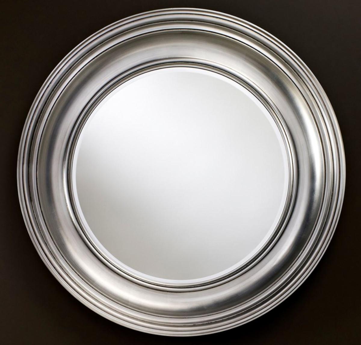 Casa Padrino Luxus Wohnzimmer Spiegel Silber O 102 Cm