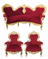 Casa Padrino Baroque Sofa Garnish Bordeaux / Gold + 2 Armchairs - Living Baroque - Limited Edition