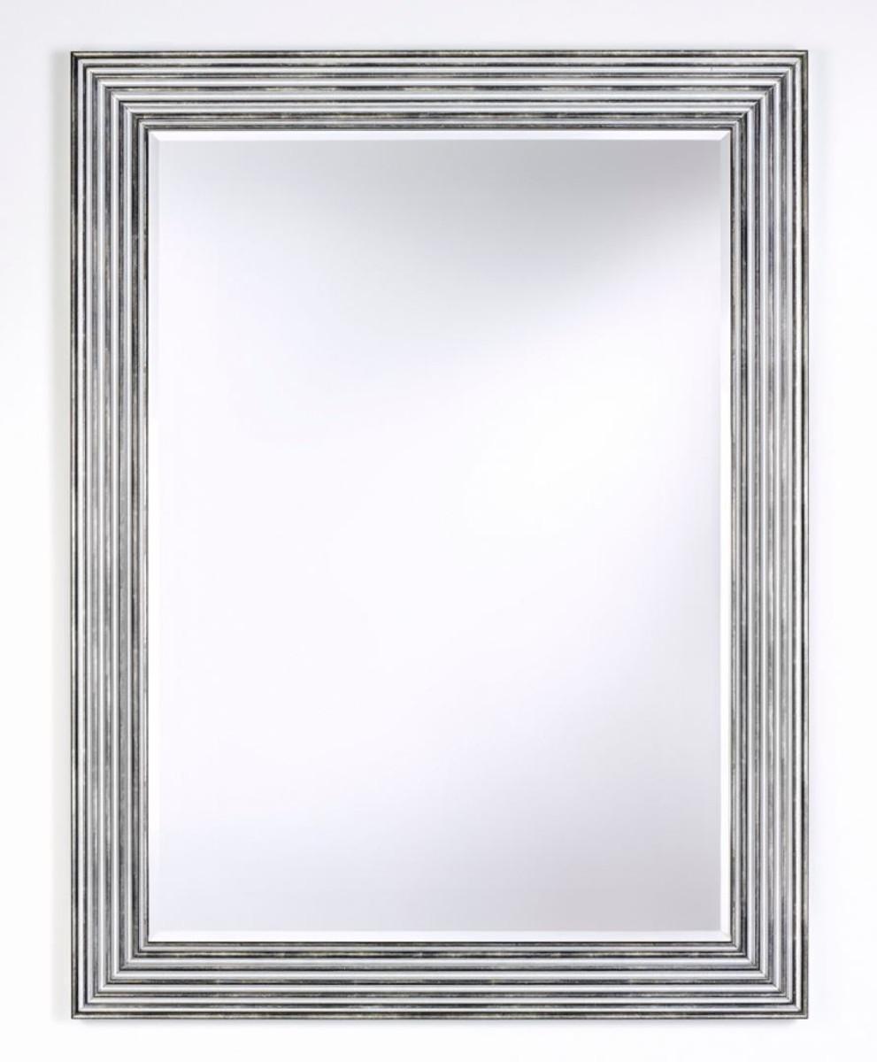 Casa Padrino Luxus Wohnzimmer Spiegel Silber Schwarz 93 X H 122