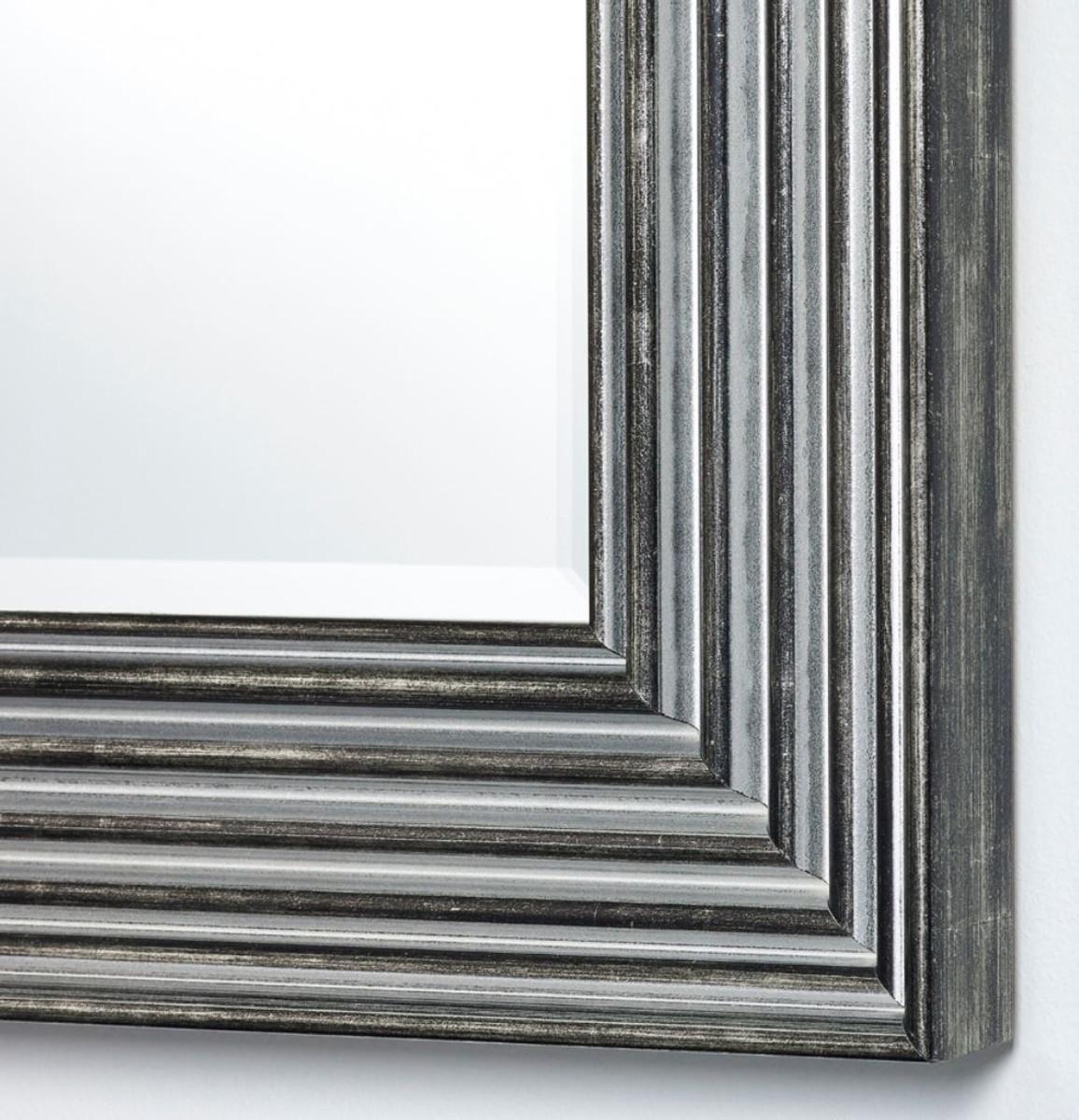 Casa Padrino Luxus Wohnzimmer Spiegel Silber / Schwarz 7 x H. 7 cm -  Wohnzimmer Accessoires