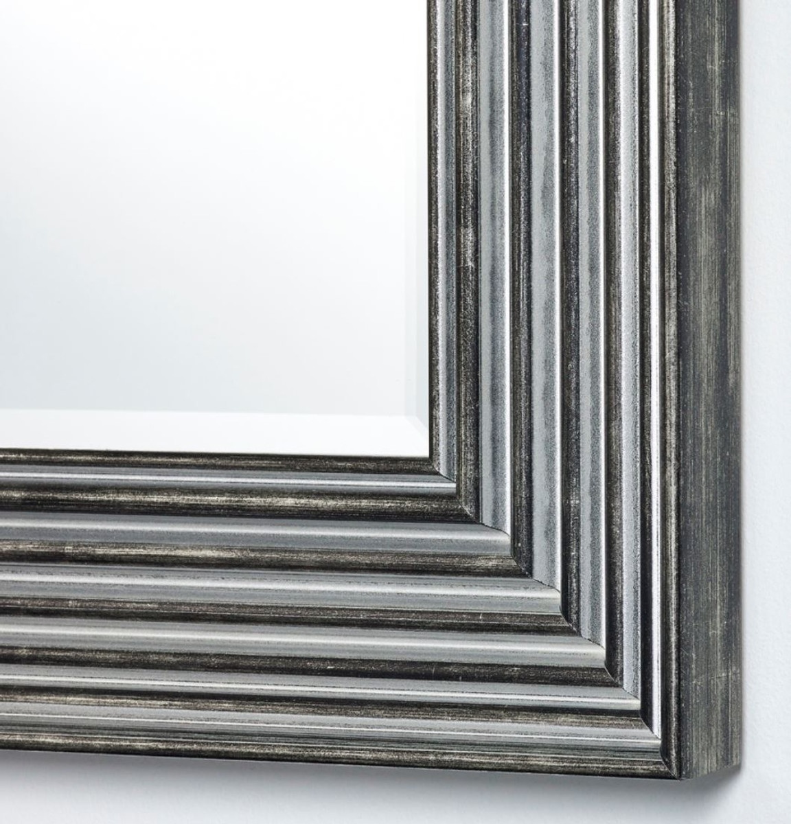 Casa Padrino Luxus Wohnzimmer Spiegel Silber / Schwarz 87